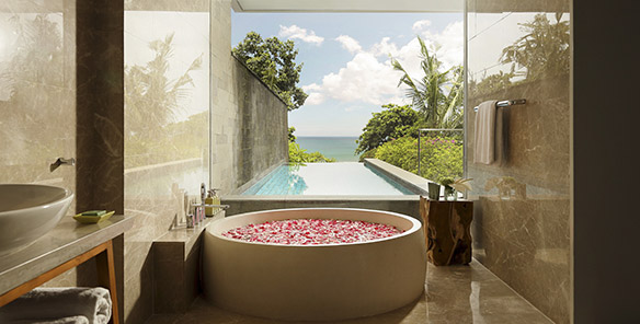 Heavenly Ocean View Pool Suite - Bathroom with a view