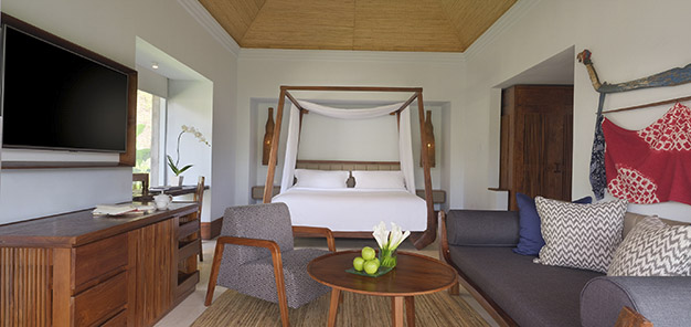 Heavenly Jacuzzi Villa - Bed and Living area